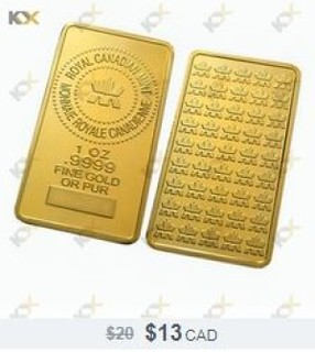 Chinese Fake Royal Canadian Mint gold bar