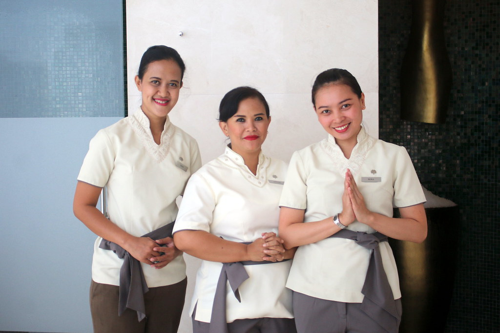 Spa technicians at the Raffles Spa in Jakarta