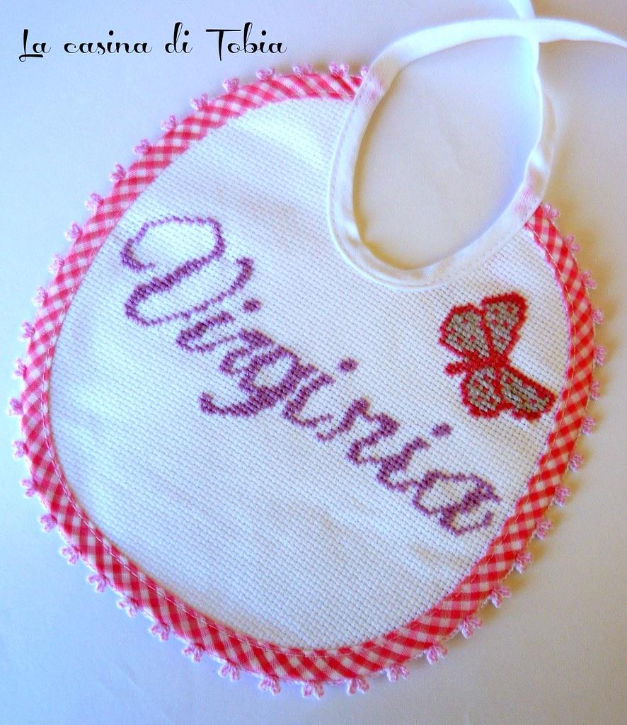 bavaglino punto croce bambina handmade by La casina di Tobia