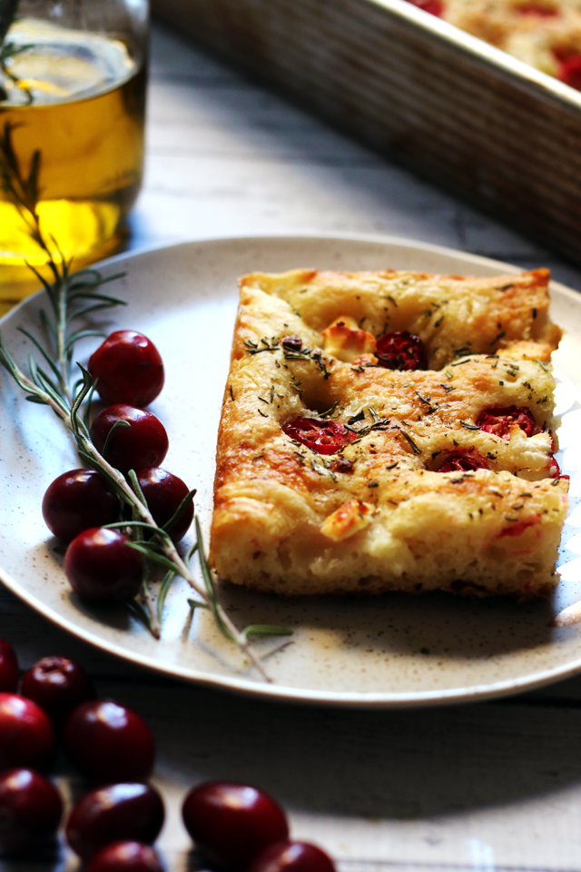 Cranberry Goat Cheese Focaccia with Rosemary Oil and a Honey Drizzle