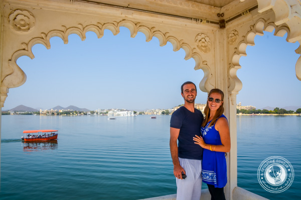 A Cruising Couple on Floating Palace in Udaipur India