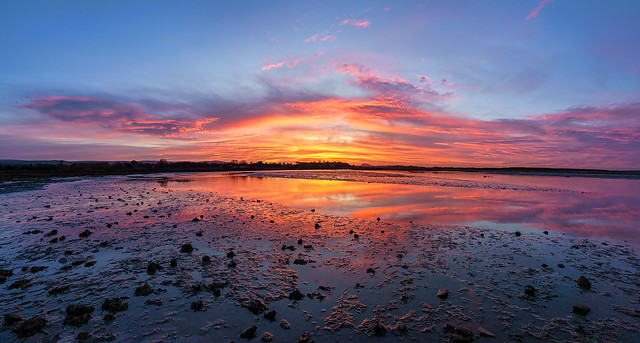 Panoramic sunset over Belhaven Bay