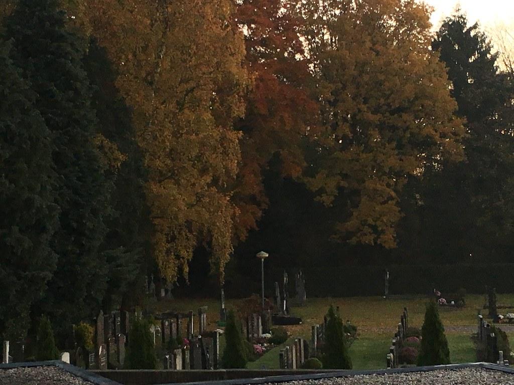 Herfst boven begraafplaats