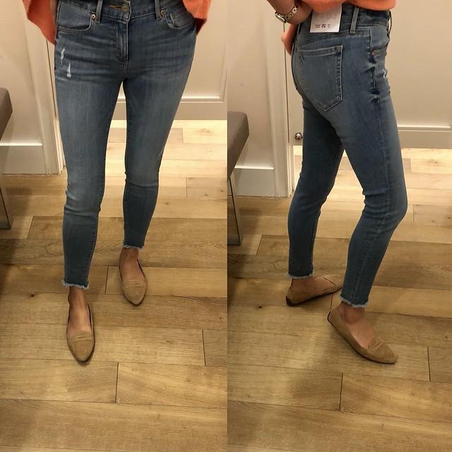 LOFT Modern Skinny Chewed Hem Jeans in Bright Mid Indigo Wash, size 25/0P