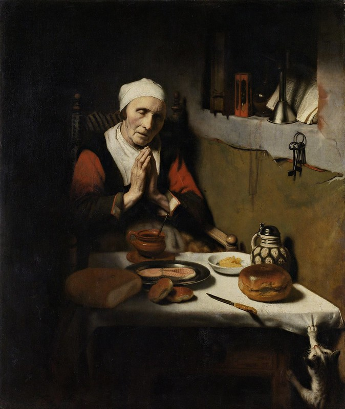 Nicolaes Maes - Oude vrouw in gebed (c.1656)