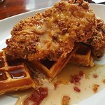 You could be eating this right now. Just saying. Thank you to our friend @plateandglass_401 for this picture! Fried chicken and Waffle special today is: Jalapeño Cheddar Cornbread Waffle, Cornmeal Fried Chicken, Spicy Honey Glaze. - - -#foodie #yum #rhody