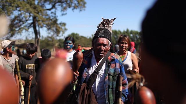 photo of Guarani-Kaiowá protest