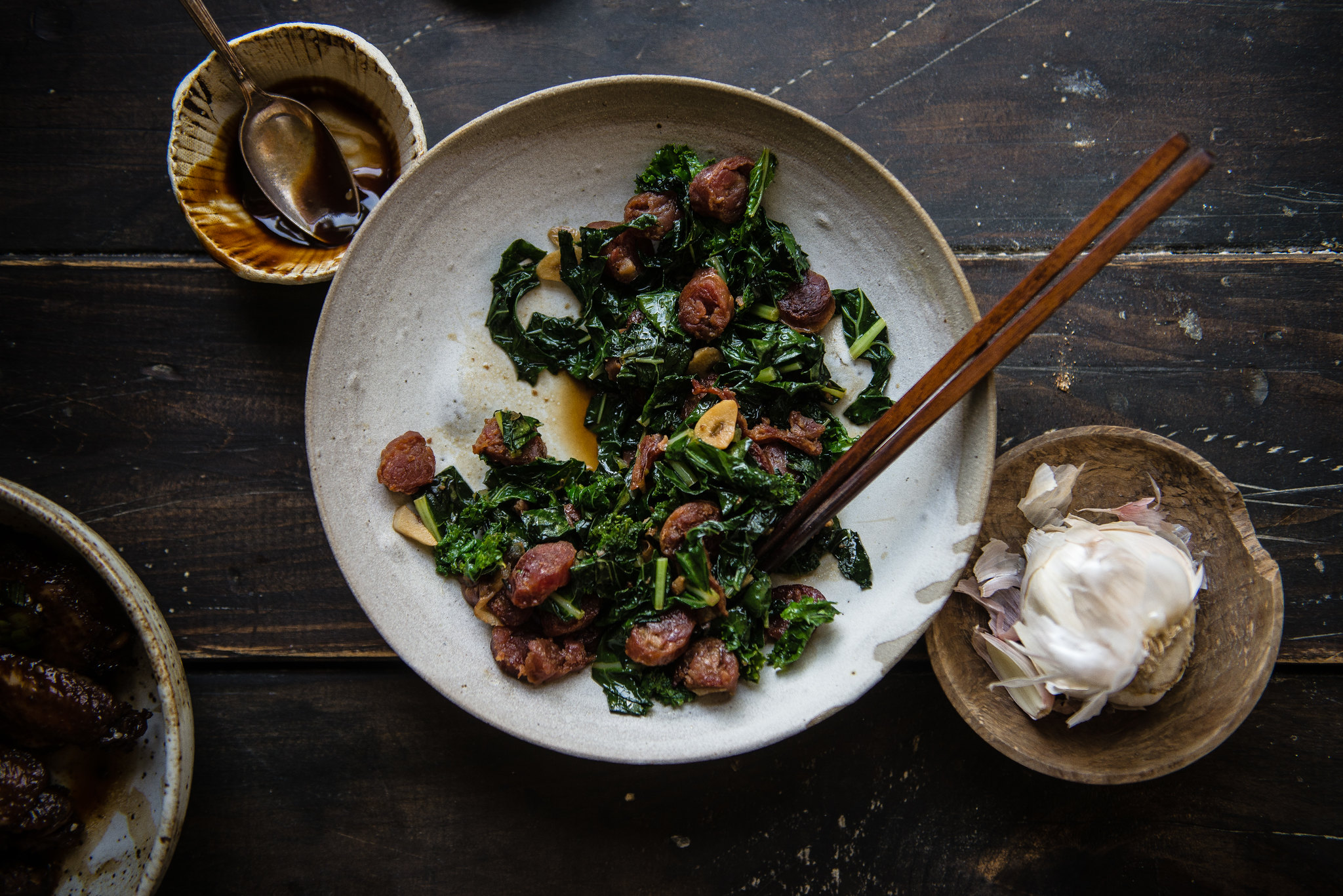 super savory greens with lap cheong and garlic