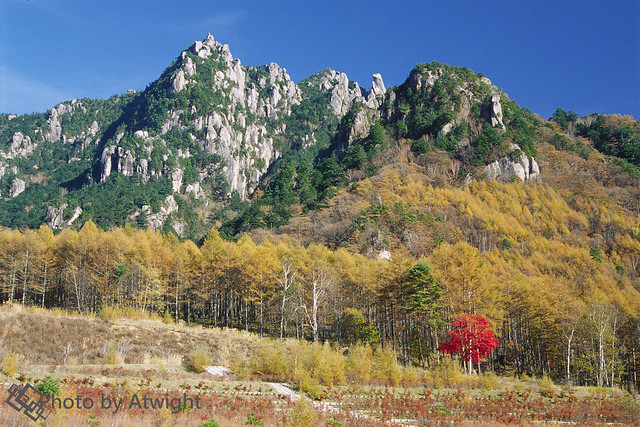 Crag mountain in autumn