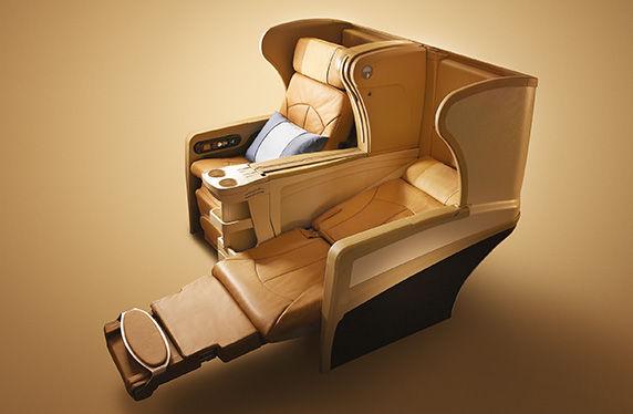 171201 シンガポール航空B777-300ビジネスクラス座席のリクライニング