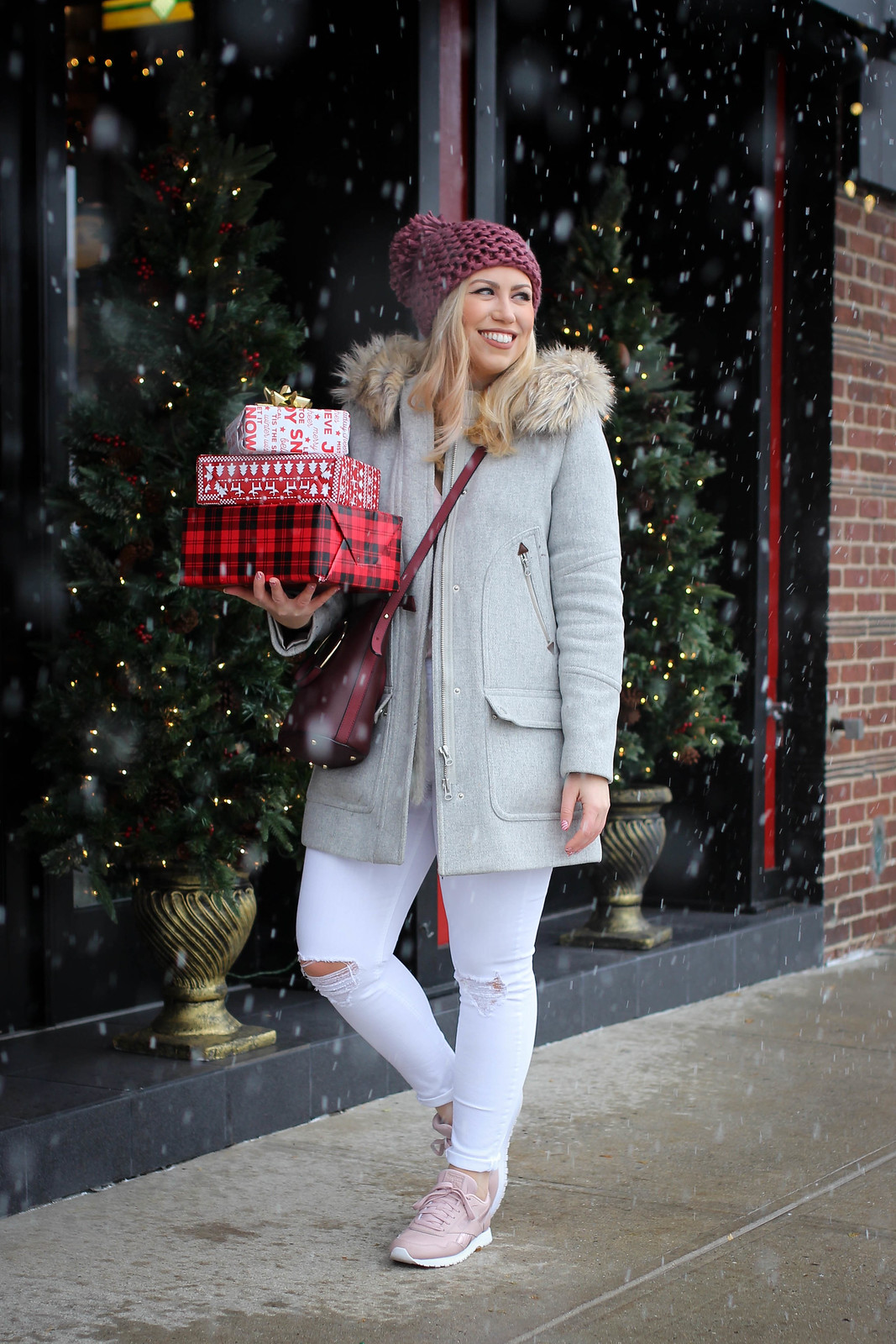 Winter White Outfit Snowing Bundled Up Pink Knit Pom Pom Hat
