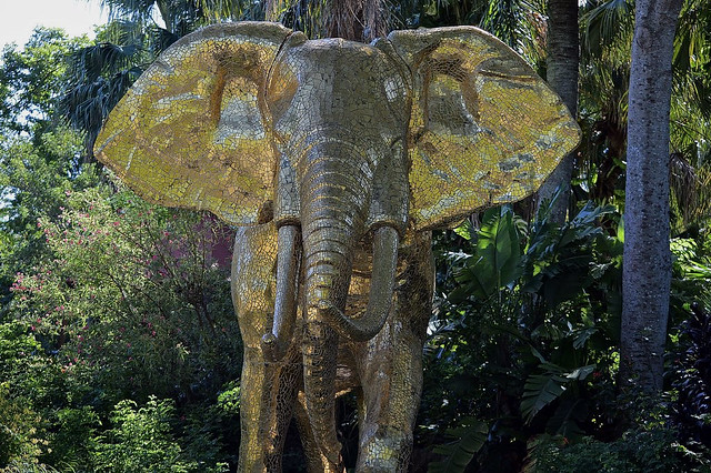Elephant Of Gold Mosaic Tiles