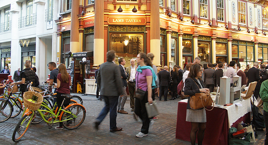 Fietsen in London: Leadenhall Market | Mooistestedentrips.nl