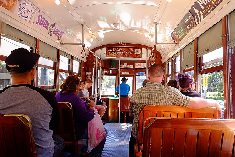 inside the St Charles streetcar