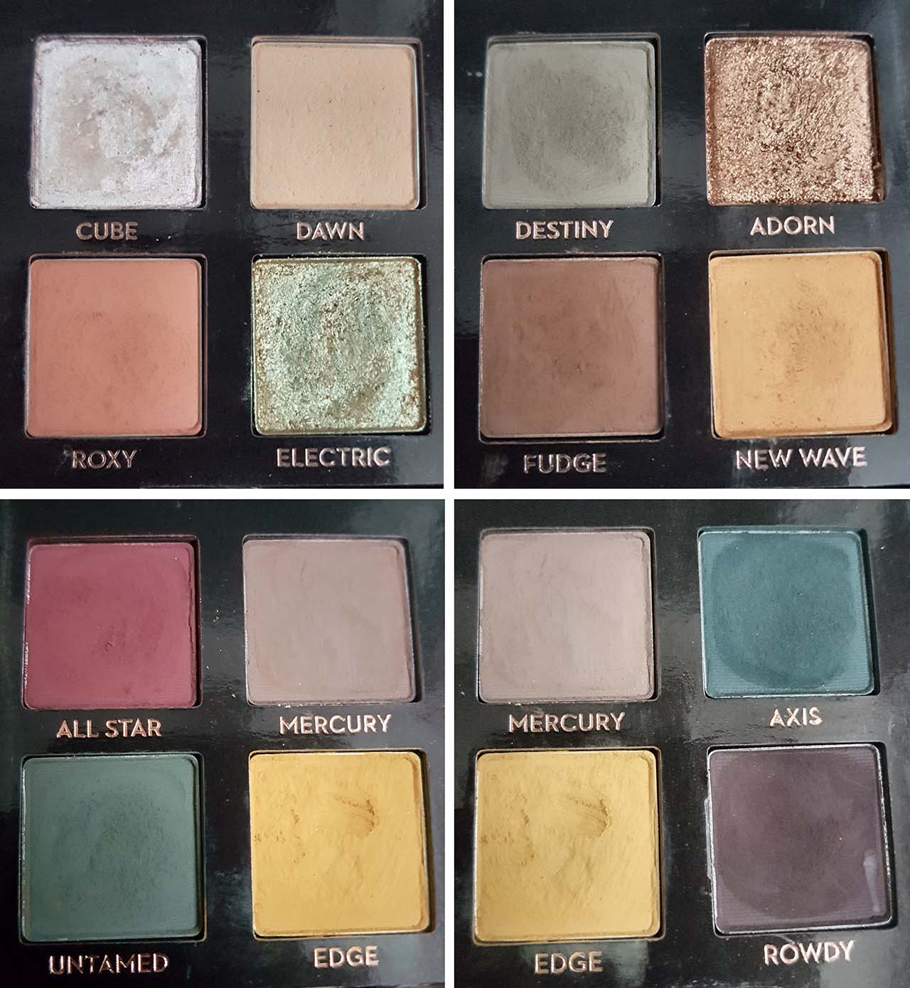 The Subculture Palette by ABH – Why All The Controversy: There are 14 eyeshadows in total, 11 are ultra-matte (Dawn, Roxy, Destiny, Fudge, New Wave, All Star, Mercury, Untamed, Edge, Axis and Rowdy), 2 are duo chrome (Cube and Electric) and 1 is a metallic glitter (Adorn)