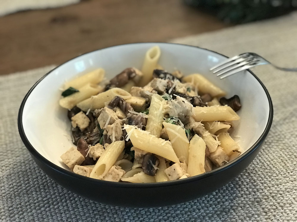 mushroom_tofu_spinach_pasta