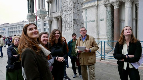 Venice Study Group Fall 2018 students with Prof. Albert Ammerman in St. Mark's Square 1