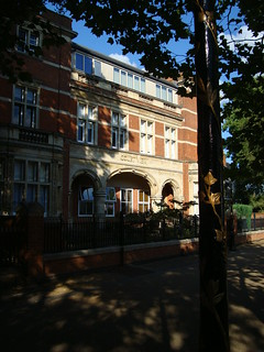 Brick building with stone columns and arches in Leicester