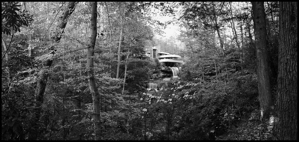 Black and White photo of falling Water building by architect Frank Lloyd Wright