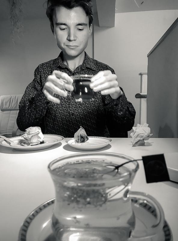 Having tea with a friend
