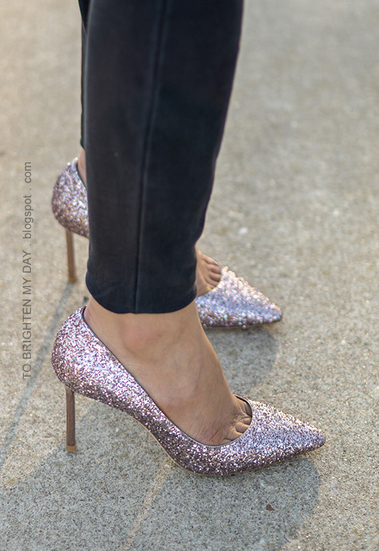 Jimmy Choo Romy glittered pumps in tea rose