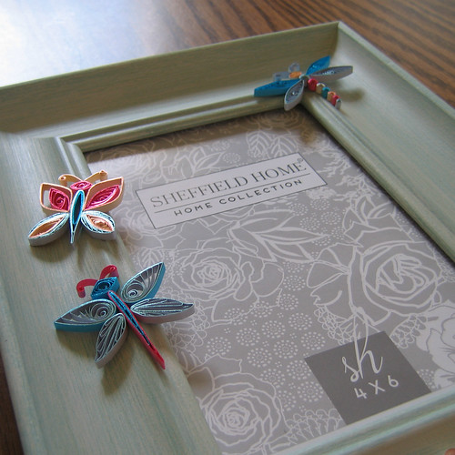 Quilled Butterflies and Quilled Dragonfly on Photo Frame