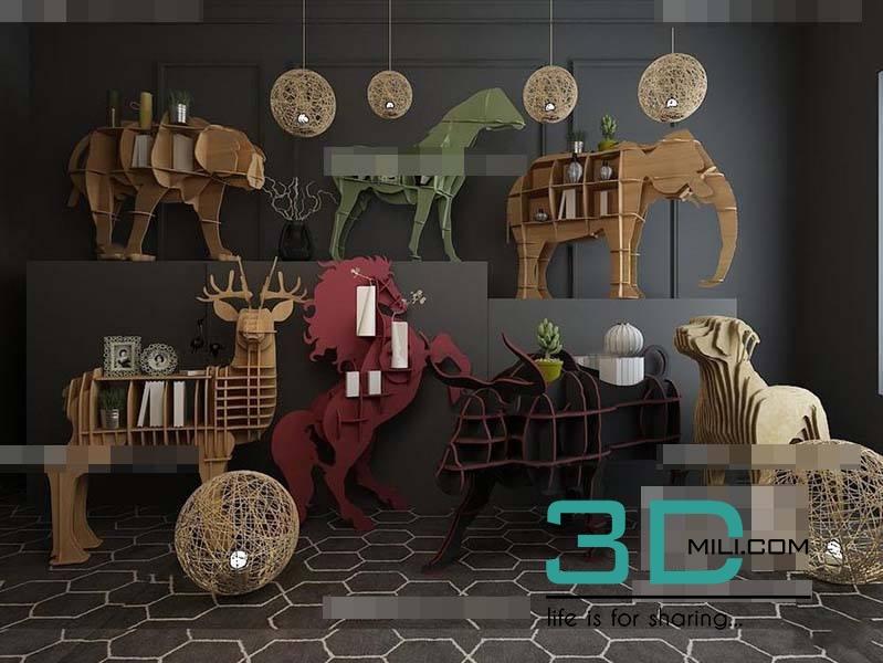118  Decorative set - 3D Mili - Download 3D Model - Free 3D