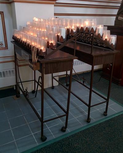 White candles #toronto #sherbournestreet #ourladyoflourdes #churches #romancatholicism #candles #latergram