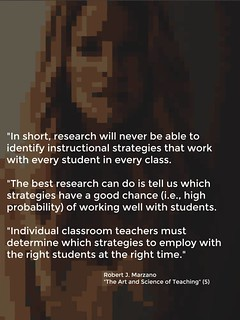 """Educational Postcard:  """"In short, research will never be able to identify instructional strategies that work with every students in every class....."""""""