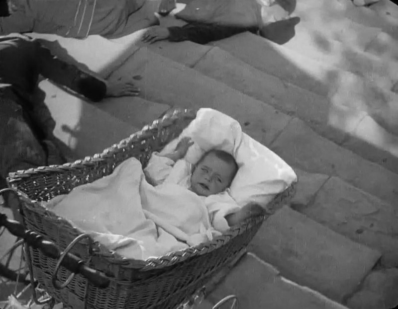 The baby in the pram falling down the 'Odessa Steps' from the movie 'The Battleship Potemkin', 1925