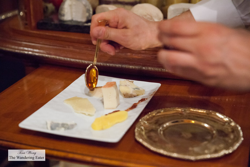 Plating my cheese plate with honey