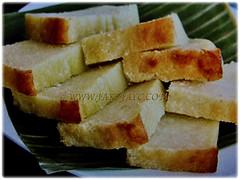 Baked tapioca pudding made from tubers of Manihot esculenta (Tapioca, Cassava, Brazilian Arrowroot, Yuca, Ubi Kayu in Malay), 17 Nov 2017