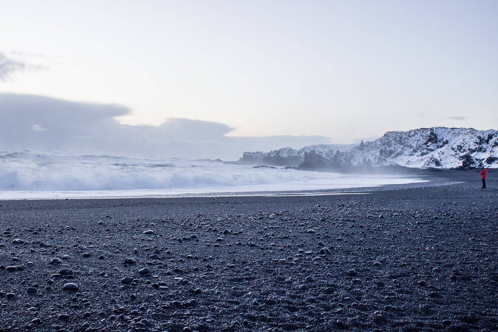 A black sand beach in Iceland's Snaefellsnes Peninsula in December