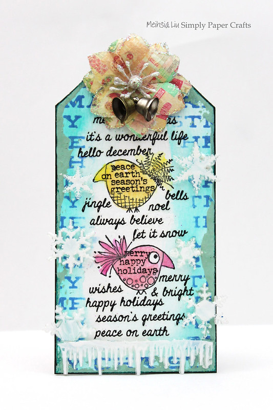 Meihsia Liu Simply Paper Crafts Quick and Easy Christmas Gift Tag Simon Says Stamp Paper Artsy Prima Flower Tim Holtz 1