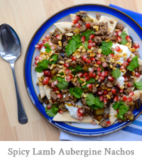 Spicy Middle Eastern Lamb Aubergine Nachos