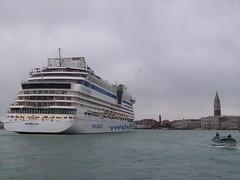 Too big?  A cruise ship enters the Venetian lagoon