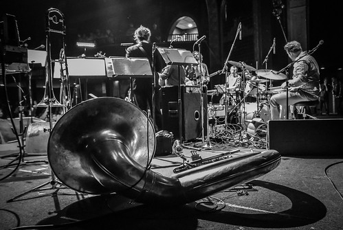 view horn section horns tacet brass tuba sousaphone band last waltz tribute columbus ohio newport music hall concert performance stage live trombone trumpet shadow lights musical instrument wind black white bw monochrome monovember 2017 monovember2017 instrumental