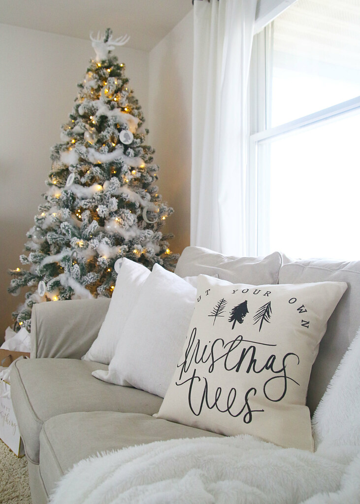 White Farmhouse Christmas Living Room