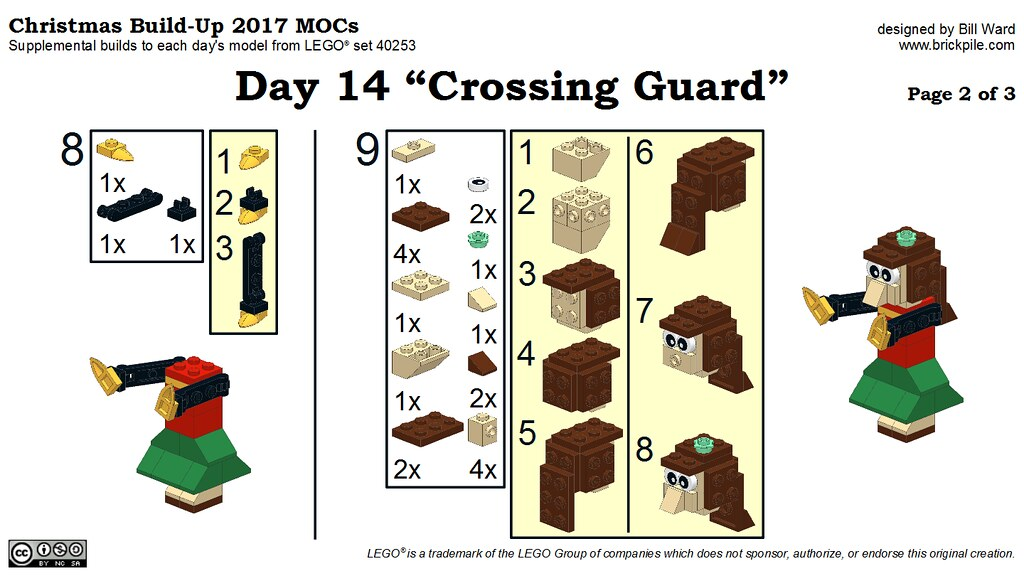 "Christmas Build-Up 2017 Day 14 MOC ""Crossing Guard"" Instructions p2"