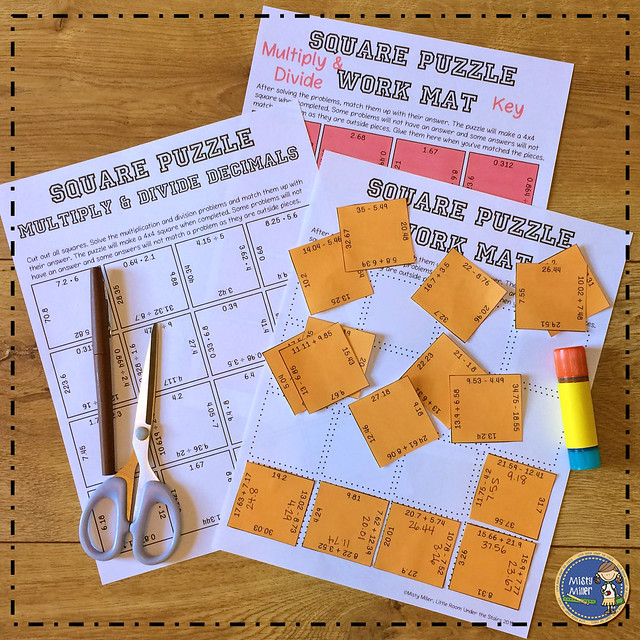 after tests: things for early finishers to do after a test; multiply and divide decimals square puzzle