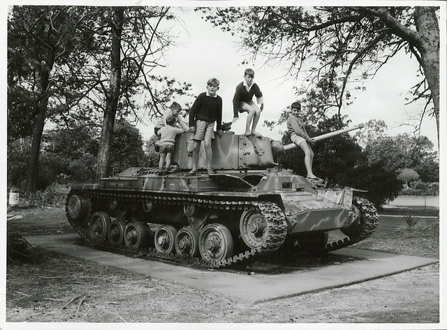 Children playing with a tank in the Rotorua Children's Park