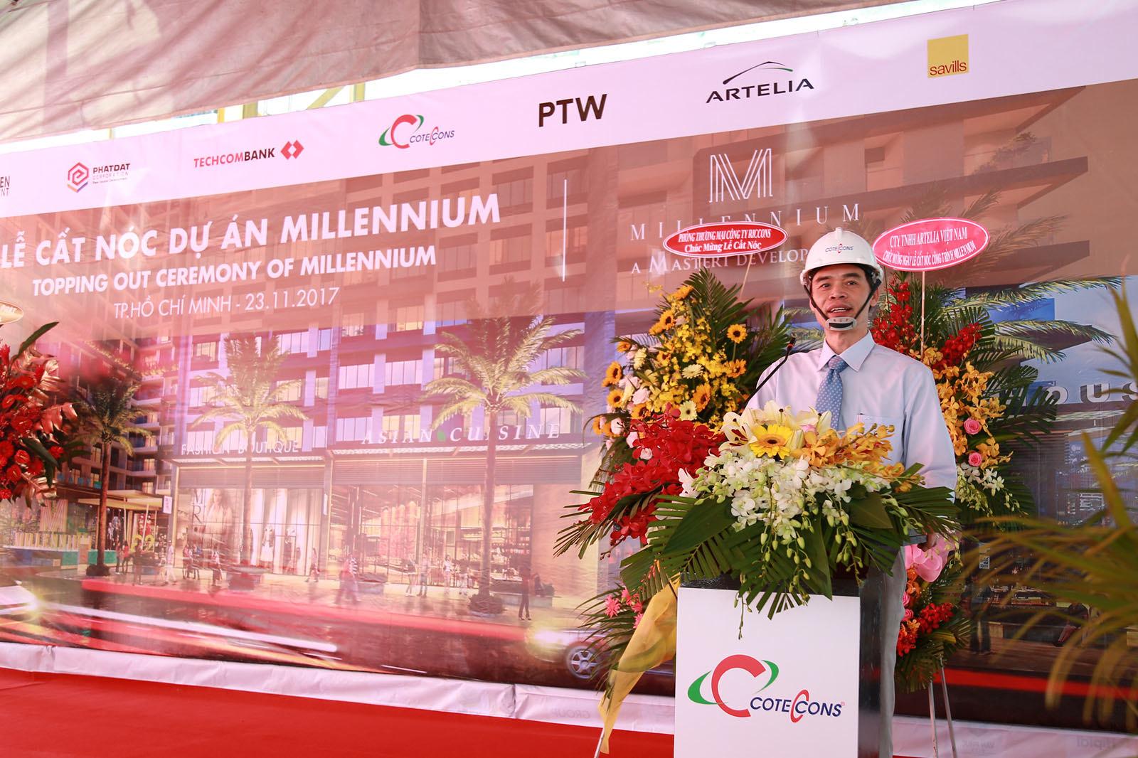 Đại diện nhà thầu CotecCons tại lễ cất nóc dự án Millennium quận 4.