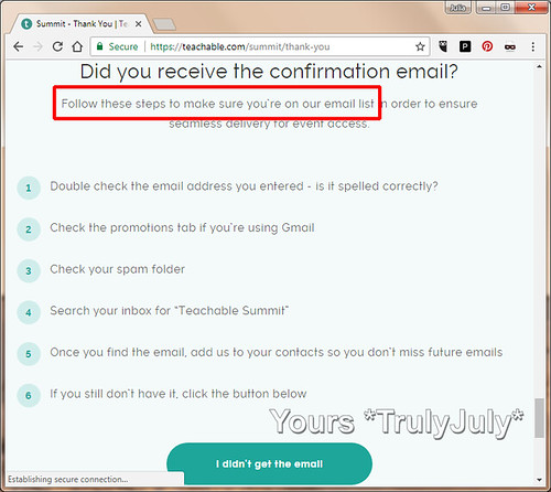 This thank-you screen provides a checklist and prompts to look for the confirmation email.