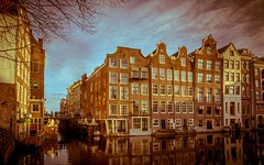 Waterfront Canal houses Armbrug Amsterdam retro look