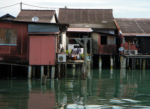 A group of house on the wharf in the village on the Penang Jetty (Malaysia)