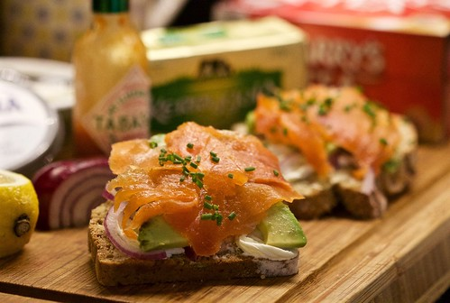 Irish Organic Burren Smoked salmon on Sean's brown bread from supervalu with a light spread of kerrygold butter avocado thinly sliced red onion a dash of tobasco with a squeeze of lemon black pepper and chives and a cup of Barry's tea. ��:heart_
