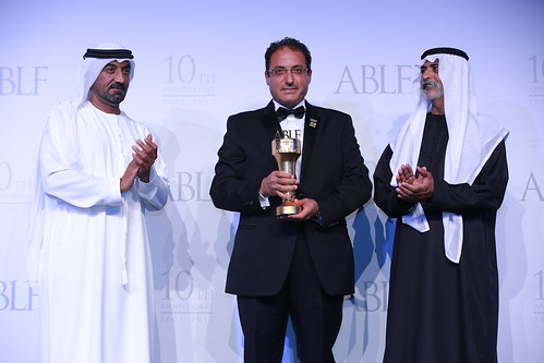 Moafaq Al Gaddah, Chairman & Founder, MAG Group, UAE, receiving the ABLF Business Excellence Award from H.H. Sheikh Nahayan Mabarak Al Nahayan, Cabinet Member and Minister of Tolerance, UAE