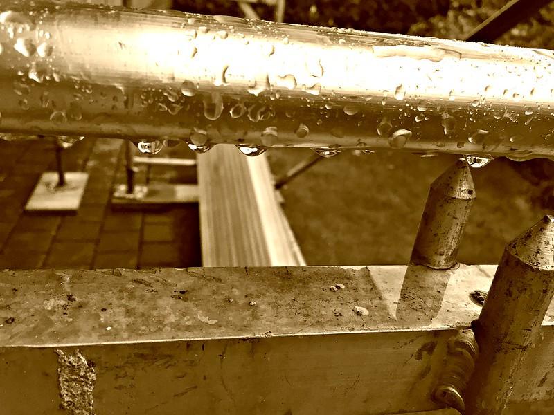 Rain on the scaffolding