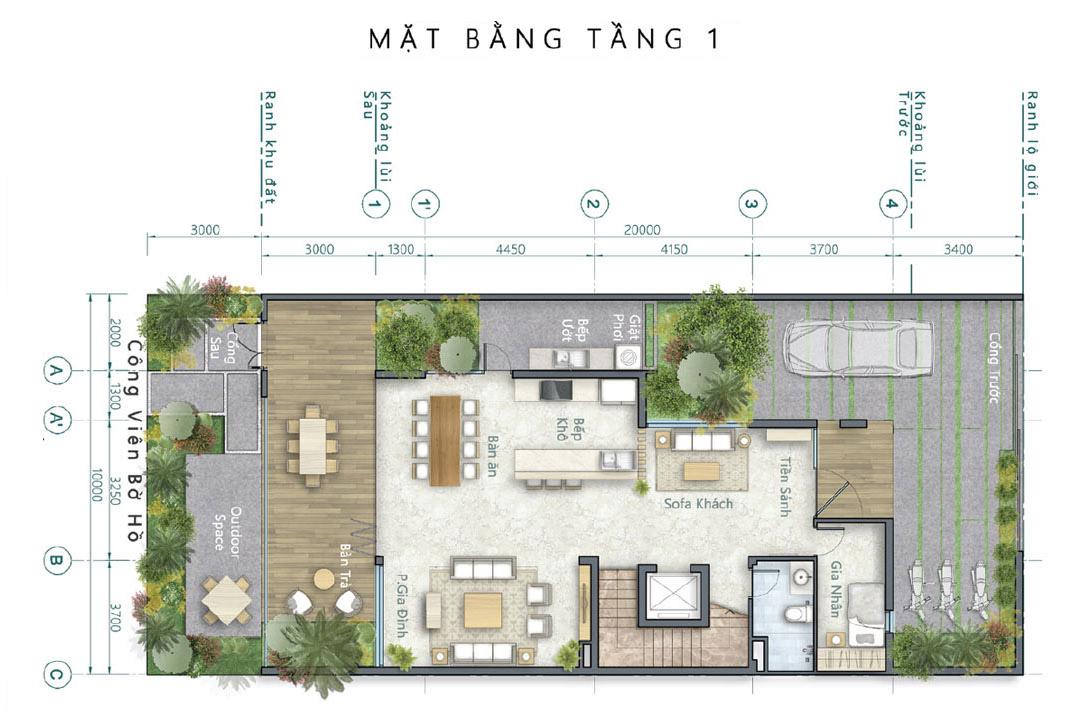 Mặt bằng thiết kế tầng 1 biệt thự song lập Lavila Nam Sài Gòn (Kiến Á, Nhà Bè).
