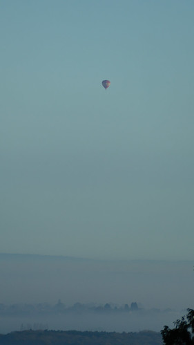 Vale of Evesham, misty autumn morning, hot air balloon